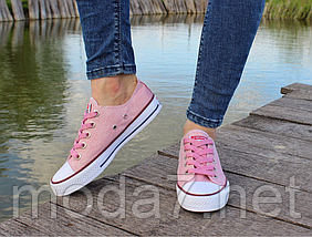 Женские кеды Converse розовые реплика, фото 2