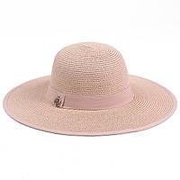 Женская летняя шляпка из рисовой соломки  цвет пудра