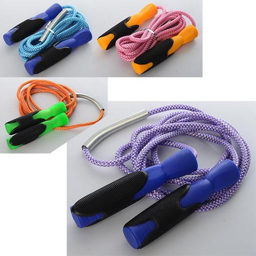 Скакалка MS 1097 (60шт) 262см,ручки пластик с резин,накладкой,веревка,4 цвета,в кульке,13,5-20,5-3см