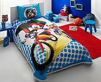 Детский комплект постельного белья Tac Disney Mickey and Goofy  простынь на резинке