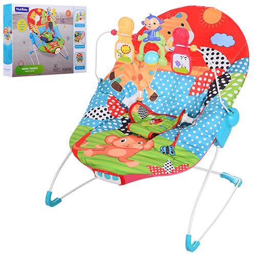 Шезлонг детский 88963 (1шт) дуга, подвески, муз,вибро,3полож.спин,красн-голуб-зелен