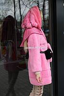 Шуба норковая розового цвета