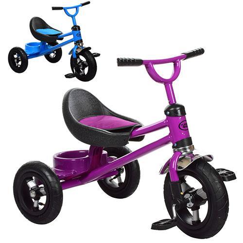 Велосипед M 3198A-M-1 (2шт)три кол.резина,задн.корзинка,накладка на сид,2цвета(фиолет, голуб)