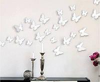 3D бабочки наклейки на стену мебель 12 шт белые 50-120 мм. Декор для дома и комнат