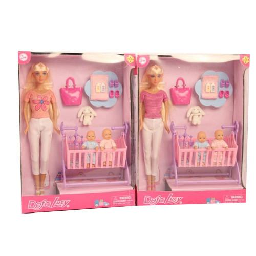 Кукла DEFA 8359-BF (12шт) 28см,пупс 2шт, 8см, кроватка, сумка,аксессуары,2вида, в кор,23,5-32- 10см