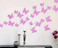 3D бабочки наклейки 12 шт розовые 50-120 мм