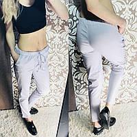 Женские  брюки из льна на шнурке. Ткань: лен. Цвет: серый. Размер: 42, 44, 46.