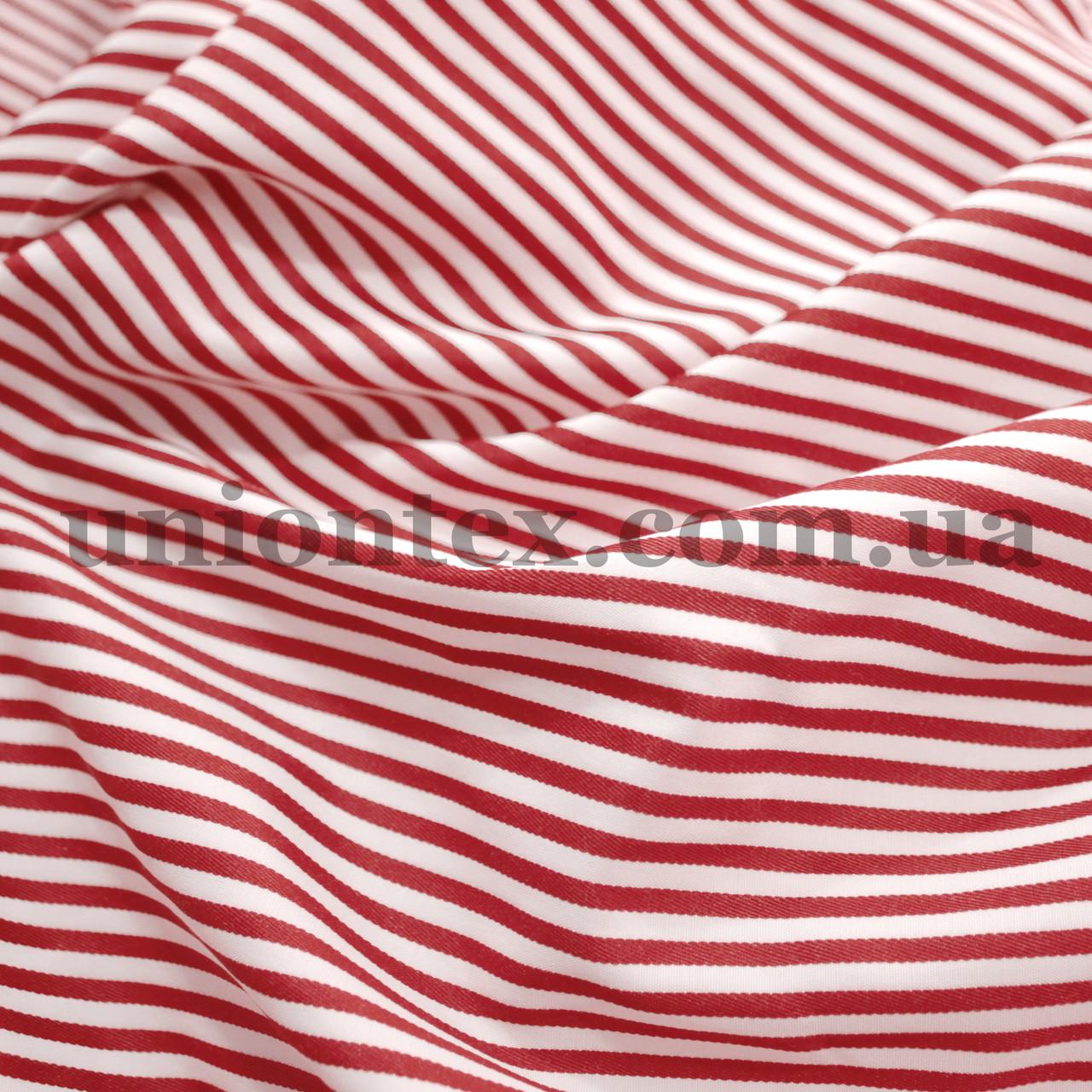 Рубашечная ткань полоска бордовая с белой, 3мм.