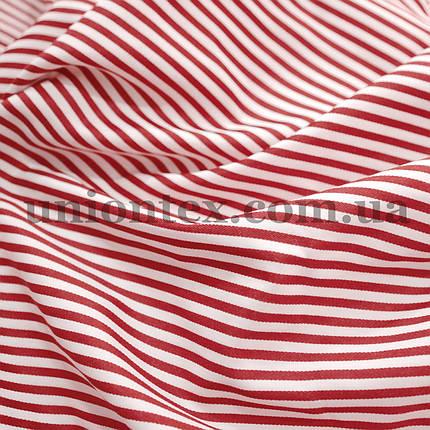 Рубашечная ткань полоска бордовая с белой, 3мм., фото 2