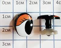 Оченята на гвинті з заглушкою 15 мм (фурнітура для ляльок)