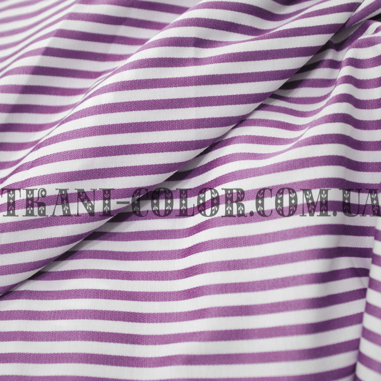 Рубашечная ткань принт полоска (сиреневый+белый)