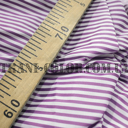 Рубашечная ткань принт полоска (сиреневый+белый), фото 2