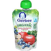 Gerber, Основное питание, Органическое детское пюре из яблок, голубки и шпината, 3,5 унции (99 г)