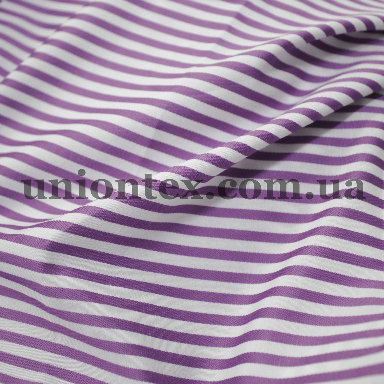 Рубашечная ткань полоска сиреневая с белой, 3мм.