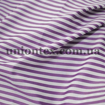 Рубашечная ткань полоска сиреневая с белой, 3мм., фото 2