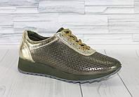 Стильные летние кроссовки хаки. Натуральная кожа 1753, фото 1