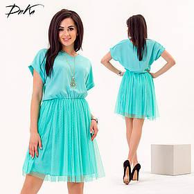 ДР1564 Нарядное платье сетка\трикотаж  (размеры 42