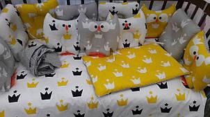 Комплект детского белья Элли Совы желто-серые короны