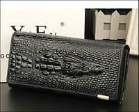 7a39109adb57 Женский кошелек с 3D изображением крокодила, клатч, бумажник, портмоне.  Кожа ALLIGATOR