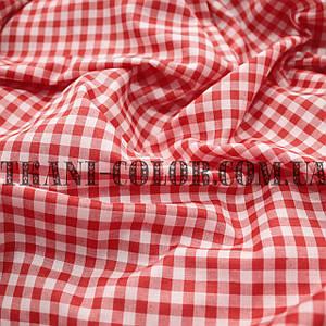Рубашечная ткань принт клетка 5мм (красный+белый)