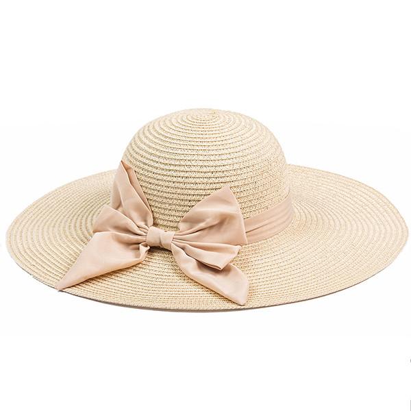 Летняя шляпка из рисовой соломки цвет бежевый