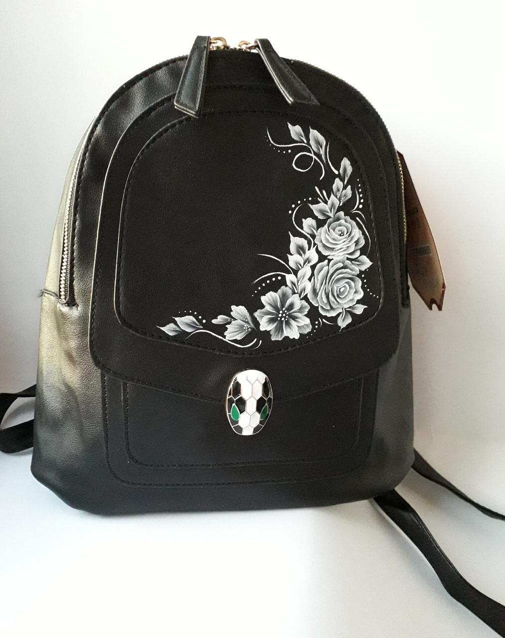 Рюкзак городской молодежный из кожзама с росписью