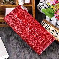Женский кошелек  с 3D изображением крокодила, клатч, бумажник, портмоне. Кожа ALLIGATOR Красный