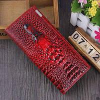 Женский кошелек  с 3D изображением крокодила, клатч, бумажник, портмоне. Кожа ALLIGATOR Красный-Чёрный
