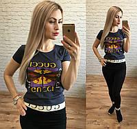 Женская стильная футболка реплика Gucci стрекоза графит, фото 1