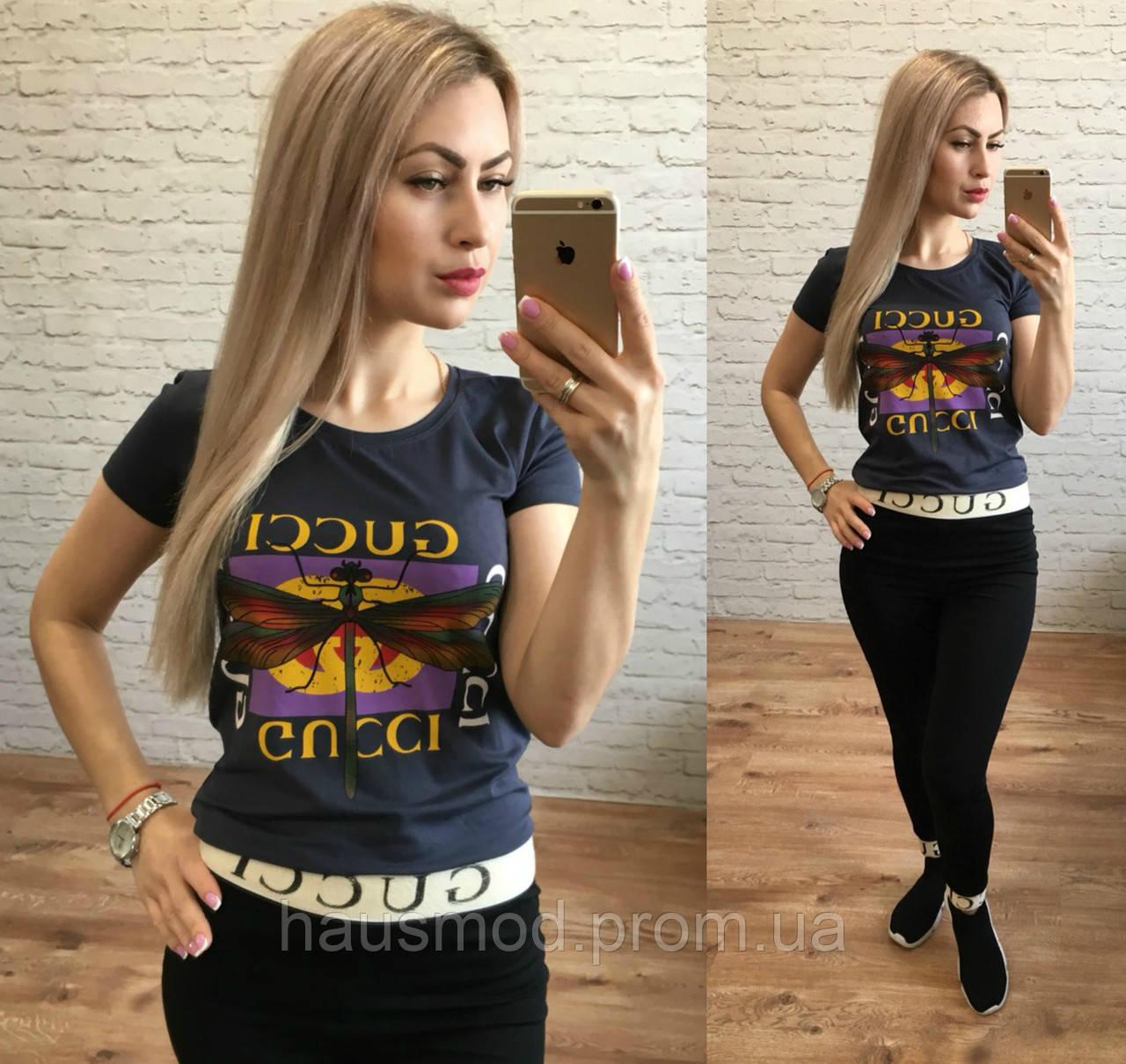 Женская стильная футболка реплика Gucci стрекоза графит