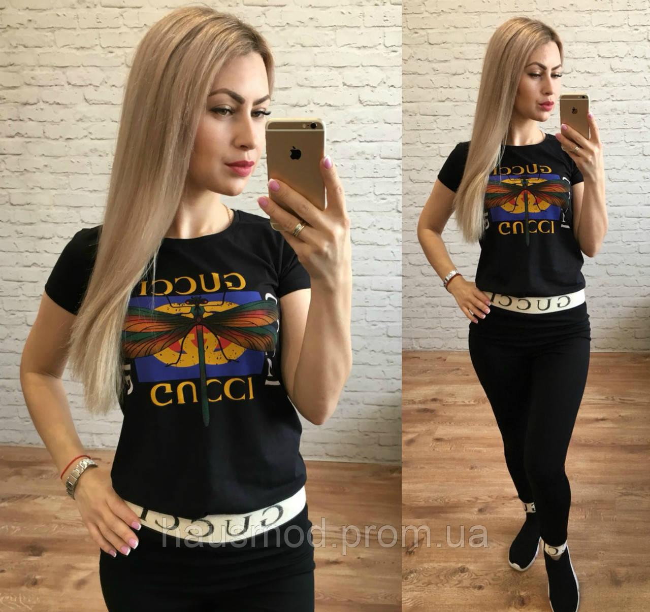 51aaf68d Женская стильная футболка реплика Gucci стрекоза черный: продажа ...