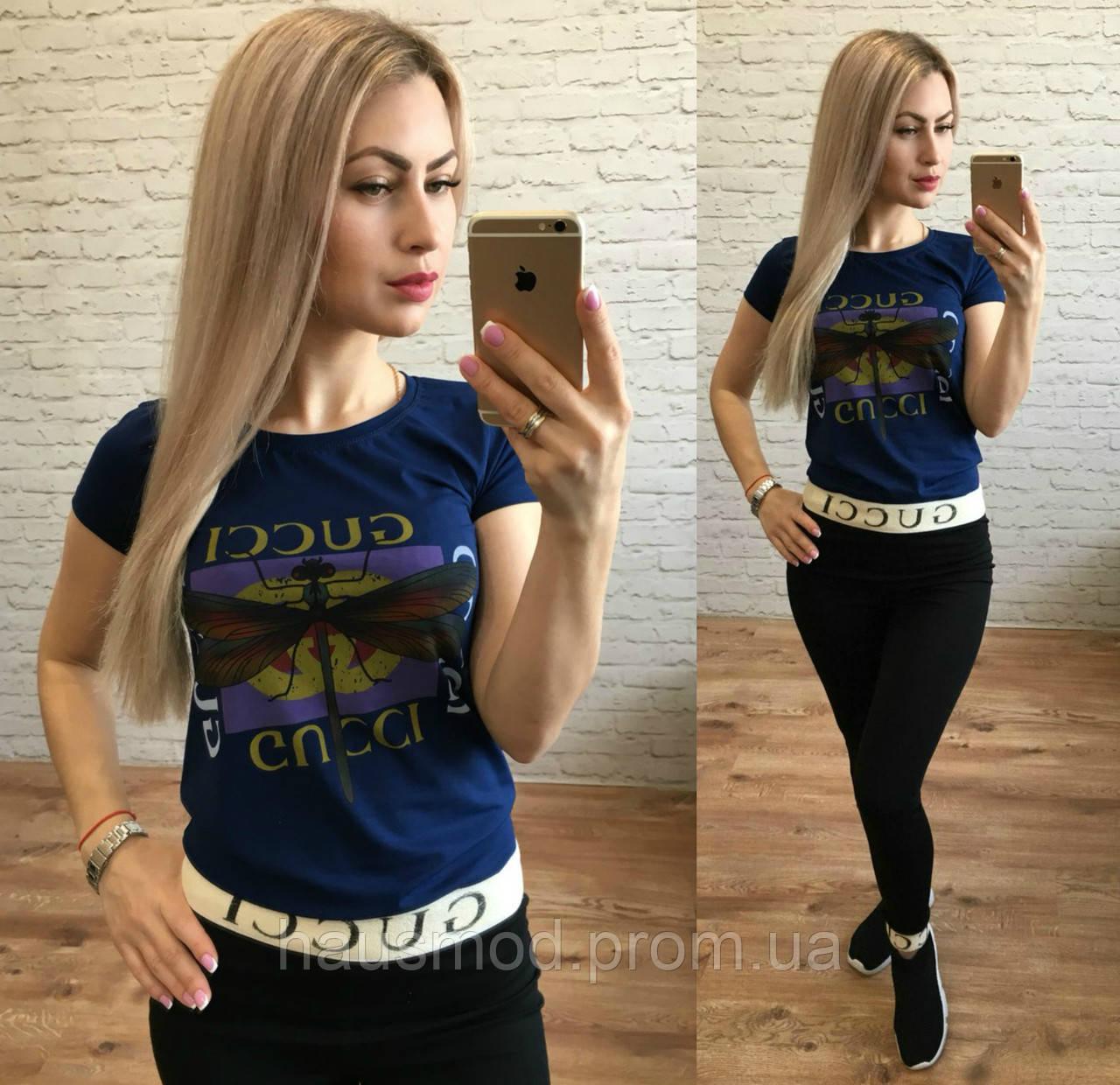 Женская стильная футболка реплика Gucci стрекоза темно-синий