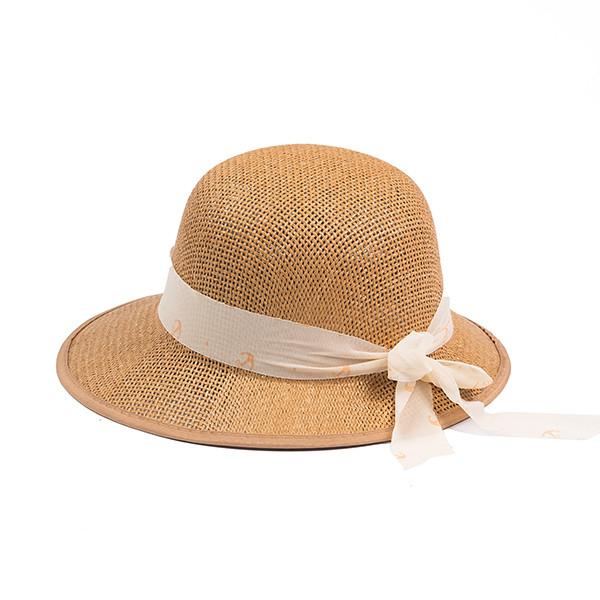 Летняя шляпка из плетеной соломки цвет темно- бежевый