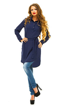 Платье- рубашка 274 темно-синяя , фото 2