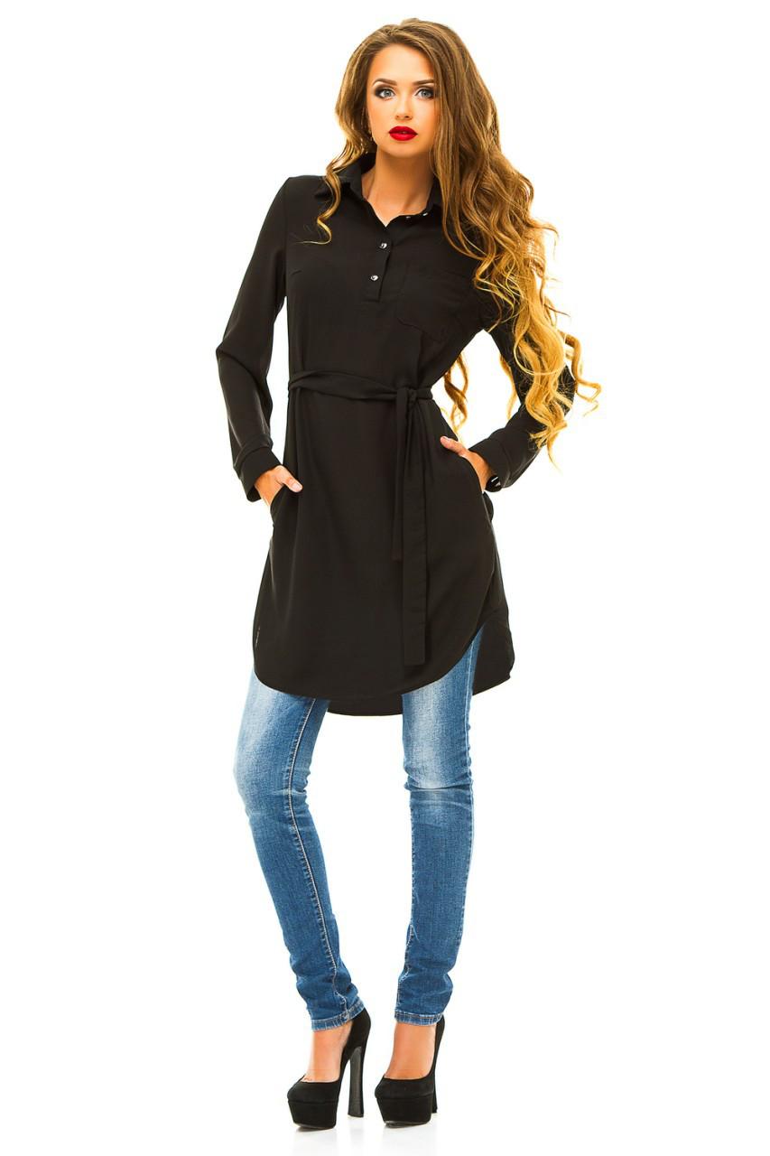 Платье- рубашка 274 черная размер 42
