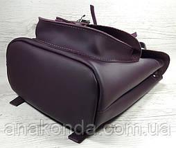 126-1 Натуральная кожа Городской рюкзак фиолетовый Кожаный рюкзак Рюкзак женский рюкзак баклажановый, фото 3