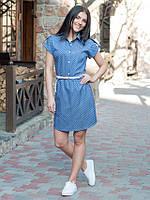 Стильное джинсовое платье Лина в горошек