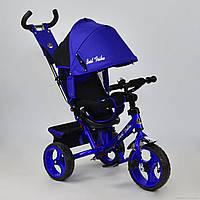 Трехколесный велосипед поворотное сиденье, ткань лен, EVA колеса 5700 - 4560,ярко-синй