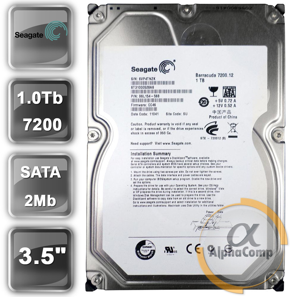 "Жесткий диск 3.5"" 1Tb Seagate ST31000528AS (2Mb/7200/SATA) БУ"
