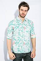 Рубашка мужская слим 465K011-3 (Салатово-белый)