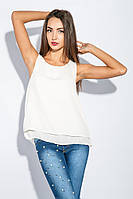 Блузка женская шифоновая без рукавов №3B001 (Молочный)