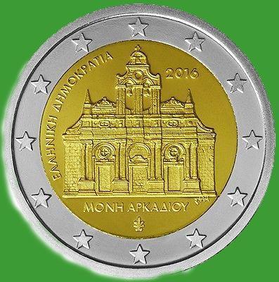 Греция 2 евро 2016 г. 150-летие поджога монастыря Аркади . UNC.