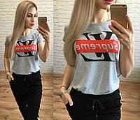 Женская стильная футболка реплика LV Supreme серый меланж, фото 1