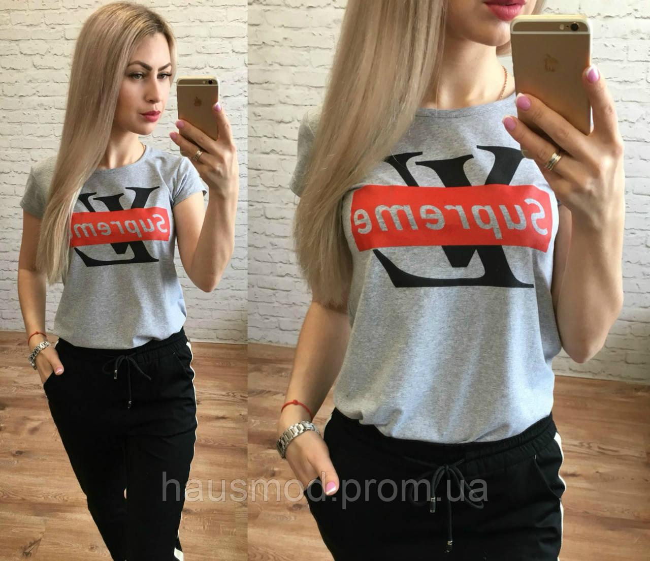 Женская стильная футболка реплика LV Supreme серый меланж