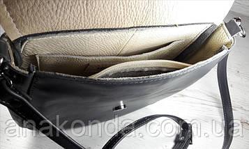 320 Натуральная кожа, Комплект: сумка кросс-боди+картхолдер, мокрый асфальт, птицы, фото 3