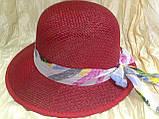 Летняя формованная красная шляпка из плетеной соломки, фото 2