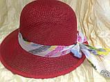 Летняя формованная красная шляпка из плетеной соломки, фото 3