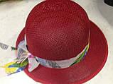 Летняя формованная красная шляпка из плетеной соломки, фото 4