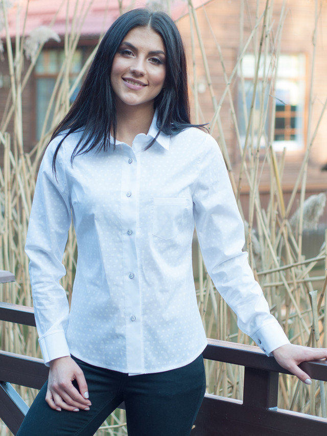 ece6f91f3a6 Деловая женская блузка Злата белого цвета  продажа