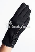 Кашемировые женские перчатки (черные, 2 бантика )